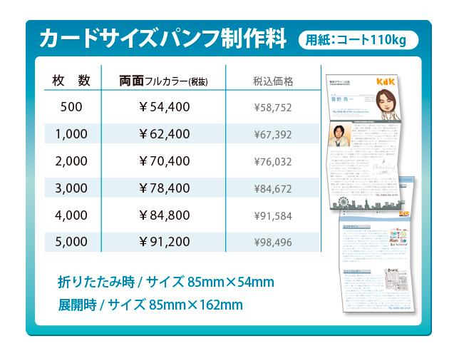 美容室のカードサイズパンフレット 製作料金 5000部作成で1部あたり19.7円