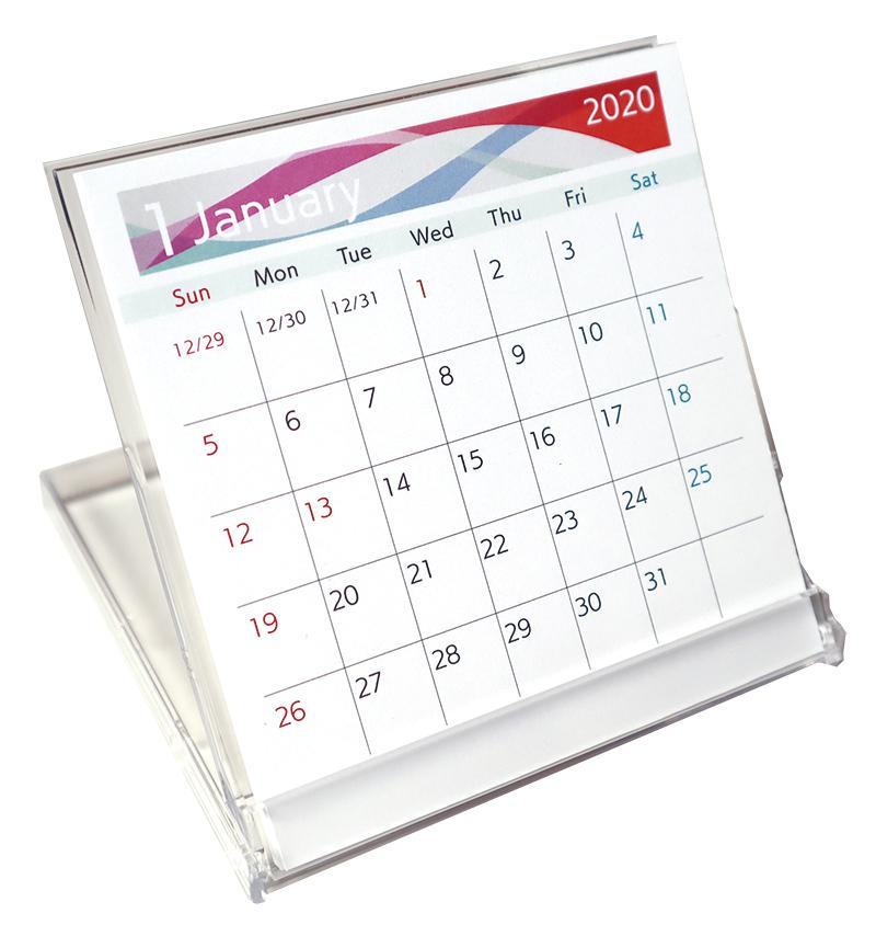美容室むけ2020年名入れ卓上カレンダー_プラスチックケース入り実物